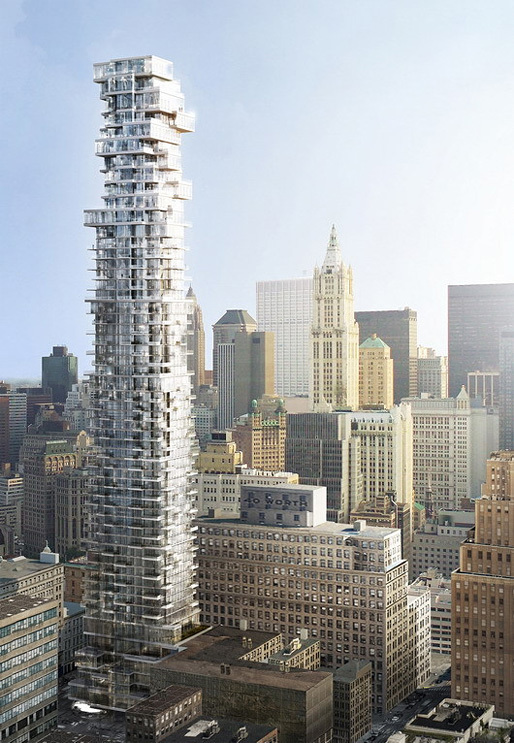Herzog & de Meuron's 56 Leonard St. Tower where the $300,000 basement storage unit just sold. Image courtesy of 56leonardtribeca.com