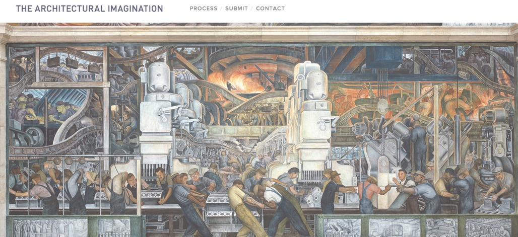 """Screenshot from """"The Architectural Imagination"""" website, featuring Diego Rivera's """"Detroit Industry"""" mural."""