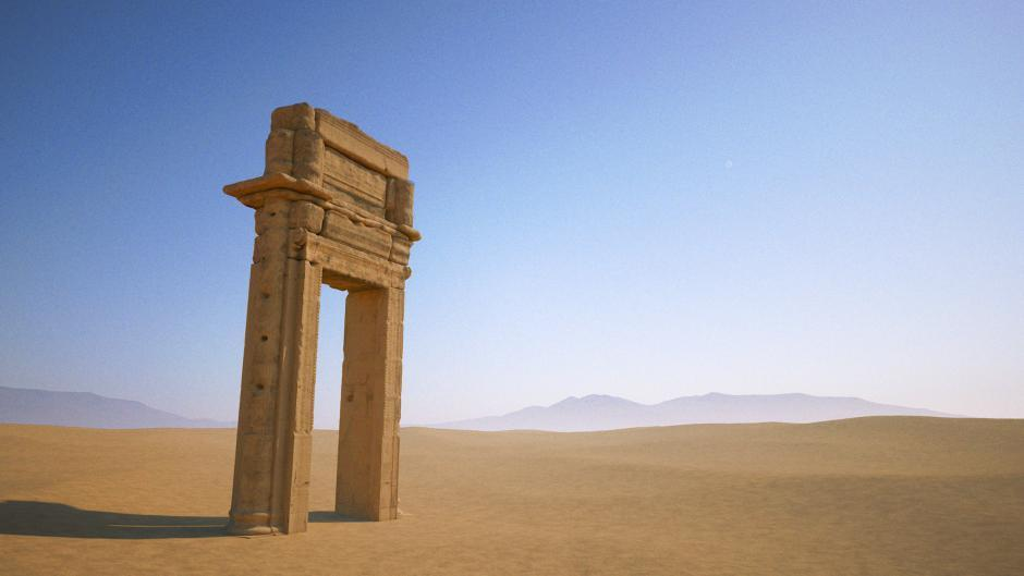 "A 3D model of the grand archway is all that's left of Palmyra's ancient Temple of Baal Shamin - destroyed by ISIS militants with ""a large quantity of explosives"" in August 2015. (Image: The Institute of Digital Archaeology, via newsweek.com)"