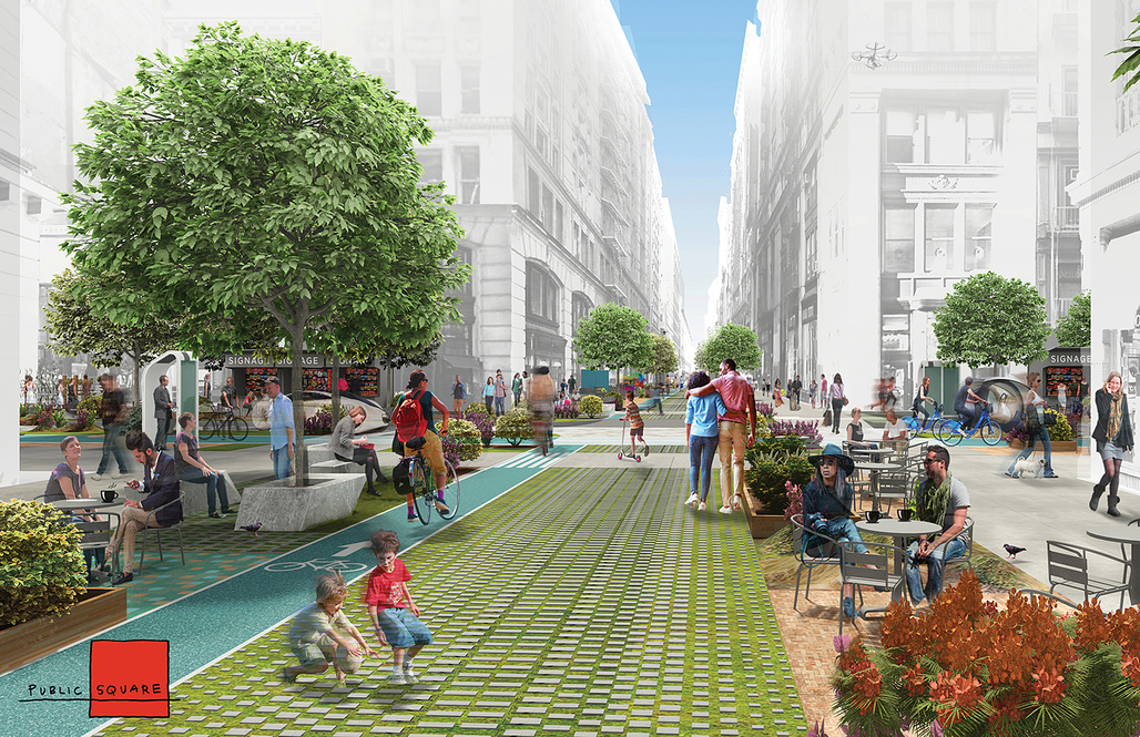 """Finalist proposal """"Public Square"""" by FXFOWLE Architects with Sam Schwartz Engineering. Image courtesy of Blank Space."""