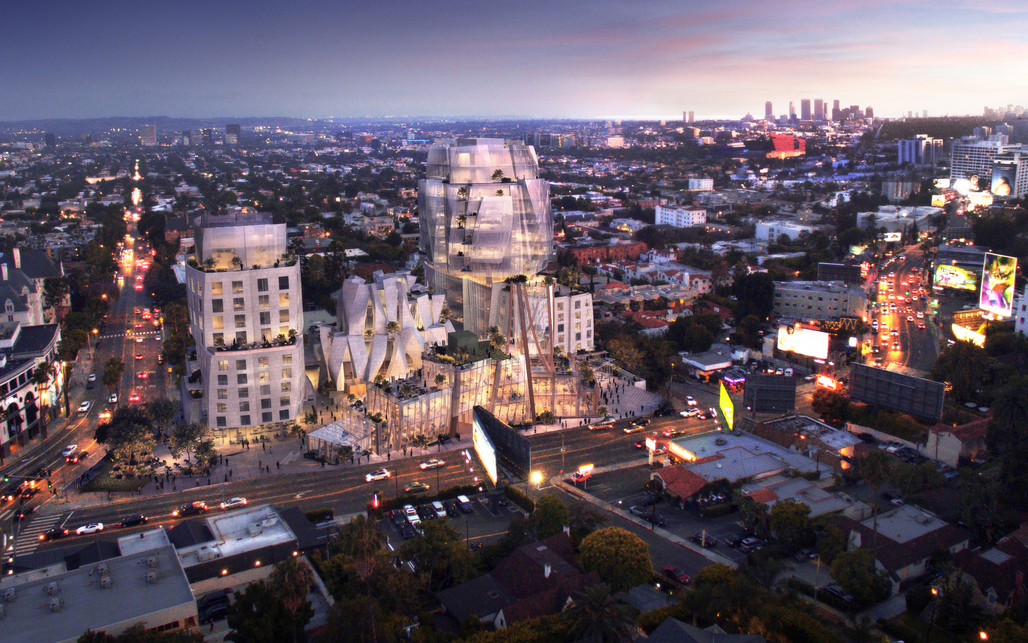 Rendering of Frank Gehry's 8150 Sunset Boulevard courtesy Visualhouse.
