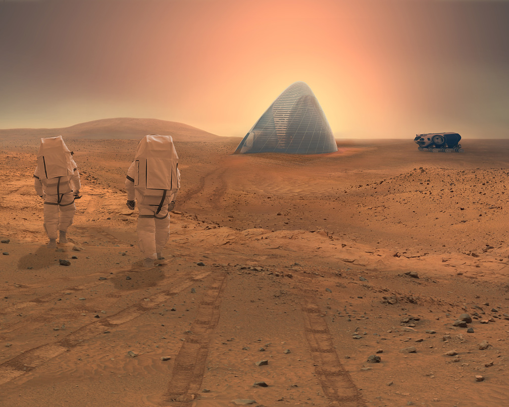 A transparent exterior ETFE membrane prevents the 3d printed ice shells from sublimating into the Martian atmosphere. Image © CloudsAO / SEArch.