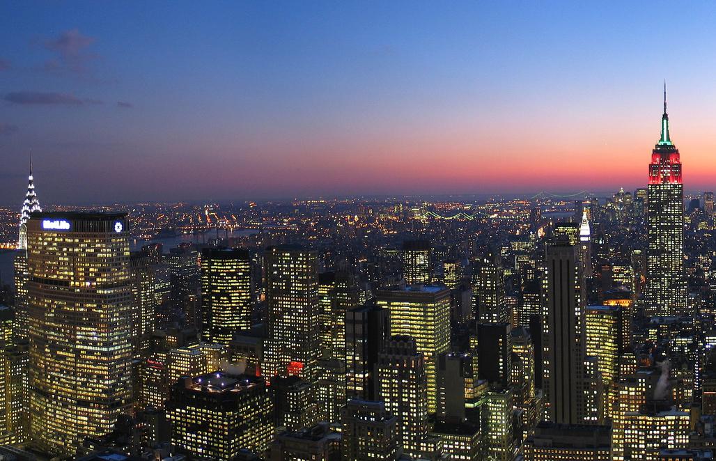 Manhattan skyline at night. Credit: WikiCommons