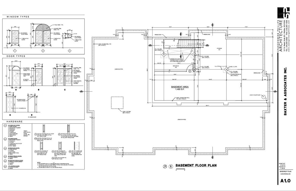 Baxter Basemet Floorplan & Door/Window Schedules