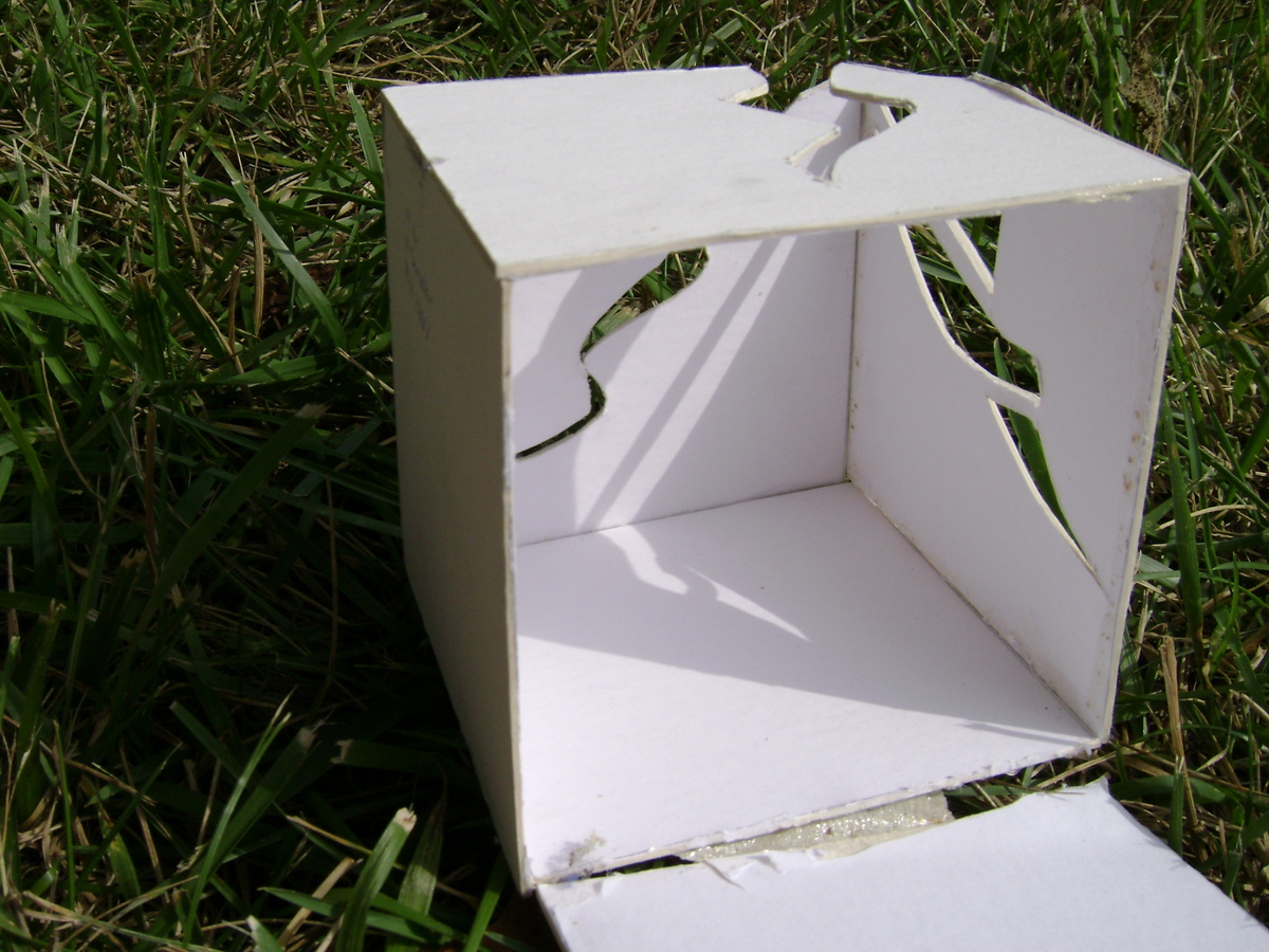 The inside of the musician's cube. The exterior cuts displayed a musical quality that allowed enough light for instruments to be played and for sound to bound back.