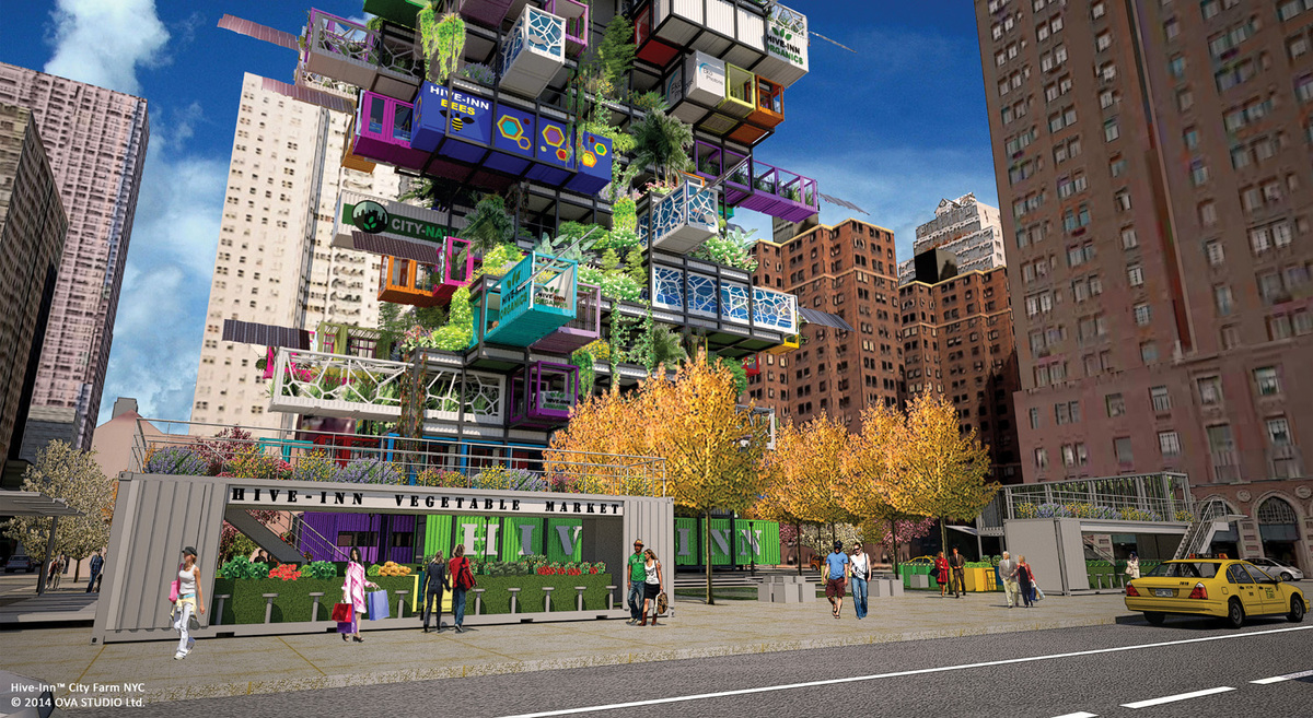 Fresh from the sky: HIVE-INN™ CITY FARM JUST LANDED IN NEW YORK. Hive-Inn™ City Farm is a modular farming structure where containers are designed and used as farming modules and acts as an ecosystem where each unit plays a role in producing food, harvesting energy and recycling waste and water.