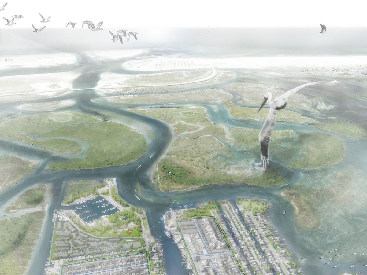 Birdseye view of the 'Eco Edge', a component of Interboro Partner's resiliency plan for Long Island, which won the Rebuild By Design competition. Image credit: Inteboro Partners