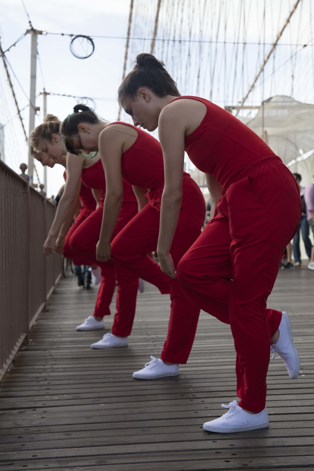 While crossing the Brooklyn Bridge, Rick Moody encountered dancers Kristin Swiat, Giovanna Gamna, Lydia Chrisman, Maya Orchin, Jessica Myers, and Annie Saeugling performing choreography by Jen Harmon for