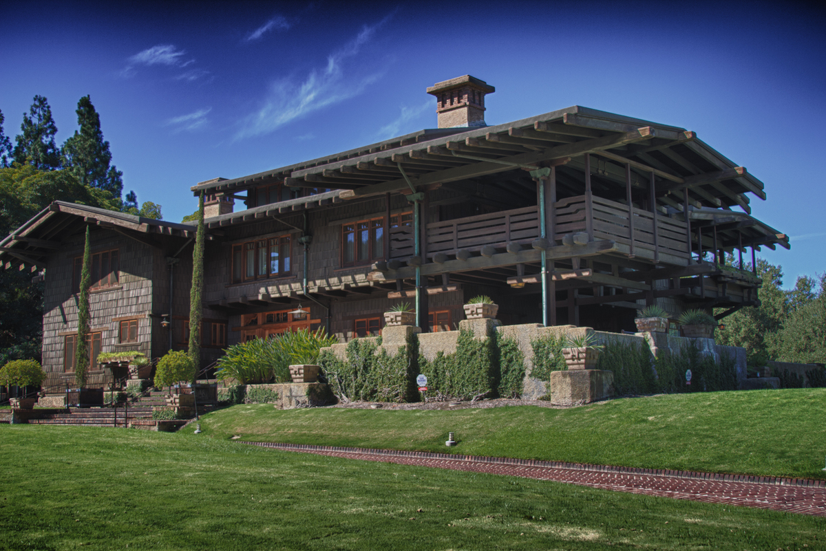 The Gamble House (outside view of porch) via Wikimedia Commons