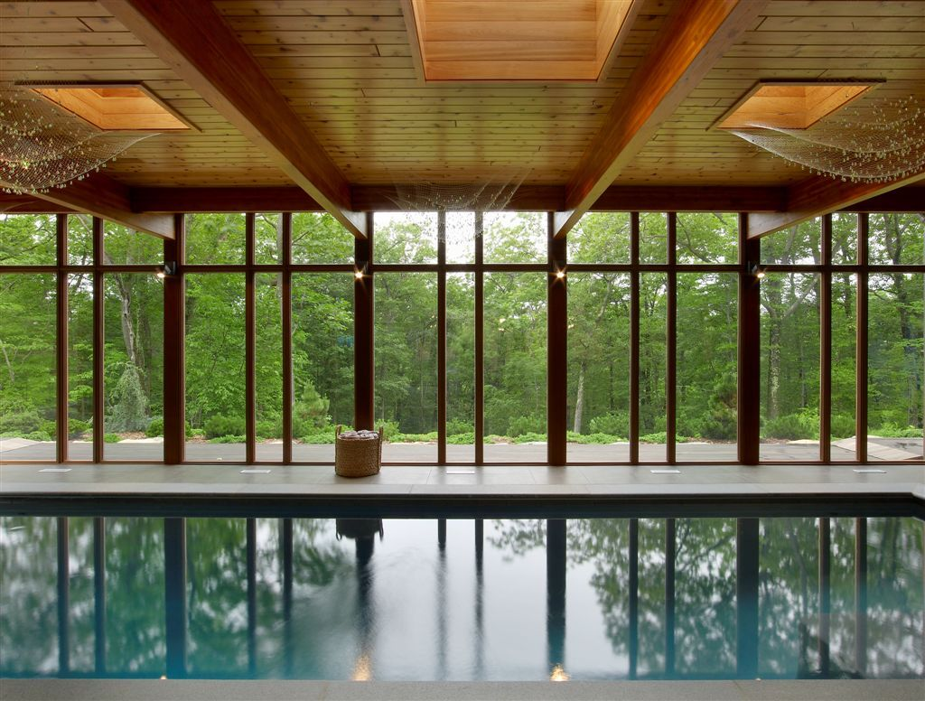 The outdoor meets the indoor with this 40 foot ozone-filtrated pool