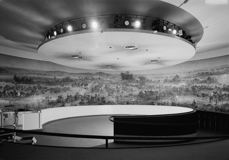 interior of the modernist Cyclorama building in Ziegler's Grove, designed by architect Richard Neutra photo from Wikimedia Commons
