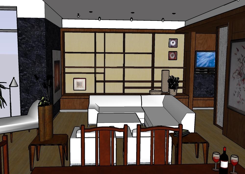 SD rendering of living room