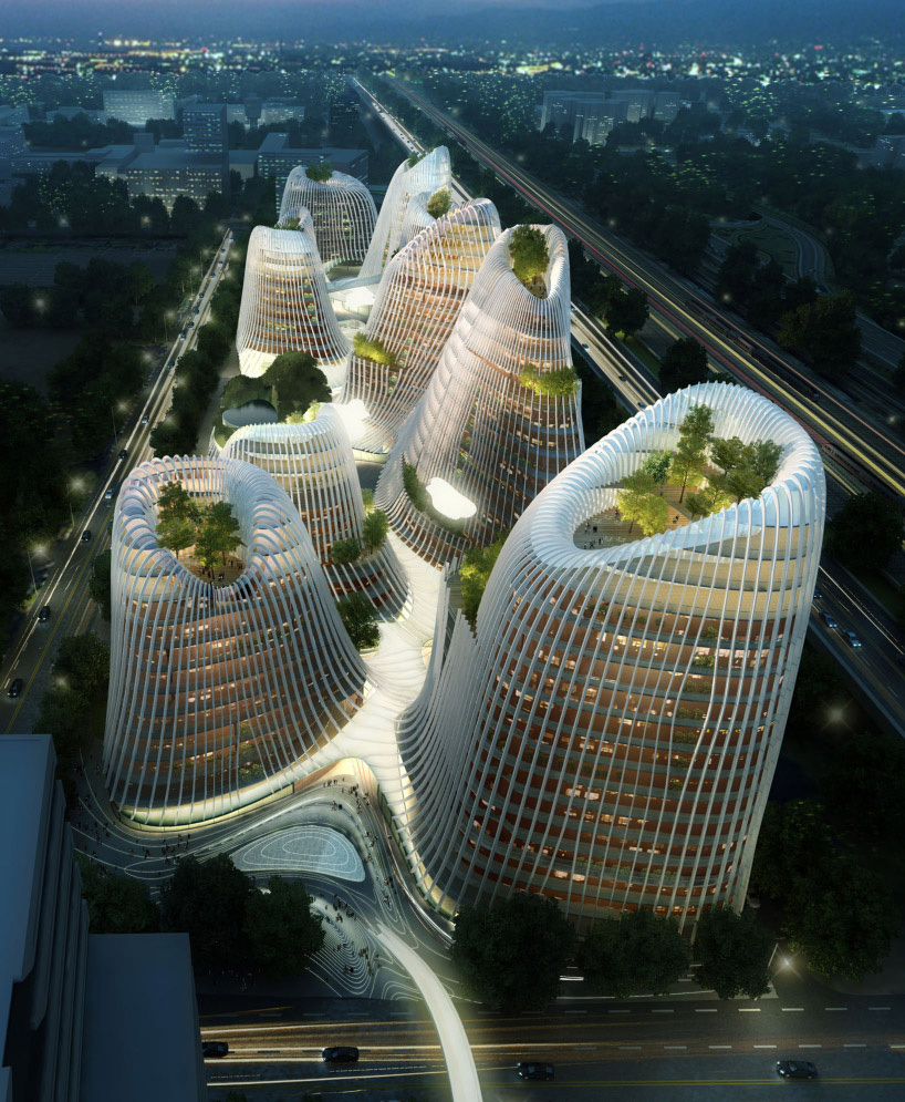 After sweeping architectural contests in Rome and Paris, Ma was invited to outline a master plan for a 200,000-square-meter commercial and retail project in Amsterdam's Zuidas business district. He unveiled architectural drawings for structures that resemble a cluster of crater-tipped mountains. Echoing Taoist paintings of peaks and pagodas, its volcano-shaped towers will be linked with a meandering series of courtyards, waterways, and pavilions that organically unite the complex. (Caption...