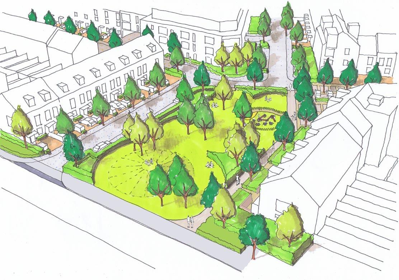 Oxford Stadium Residential Development Park Sketch