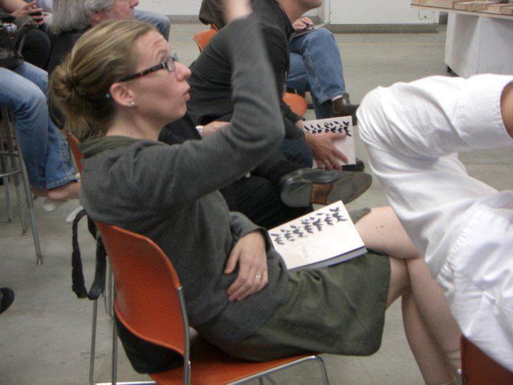 Sarah Lorenzen at a design review at Cal Poly Pomona. Photo by Tadeh Hakopian