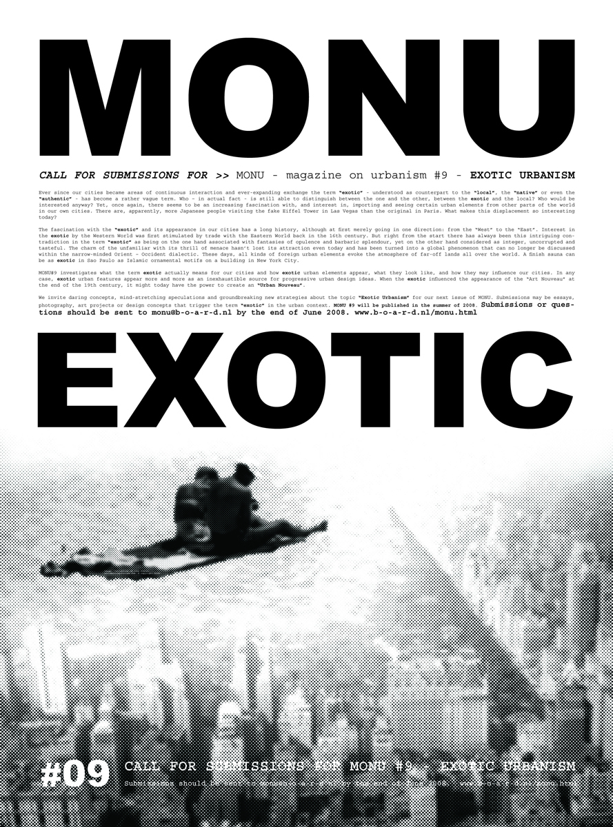 Flying carpets and exotic urbanism. Call for submissions for MONU #09 Poster © MONU