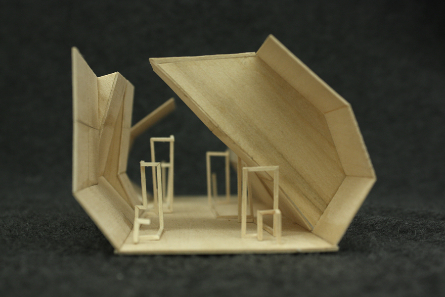 Public/private facade study of Waverly Street [basswood]