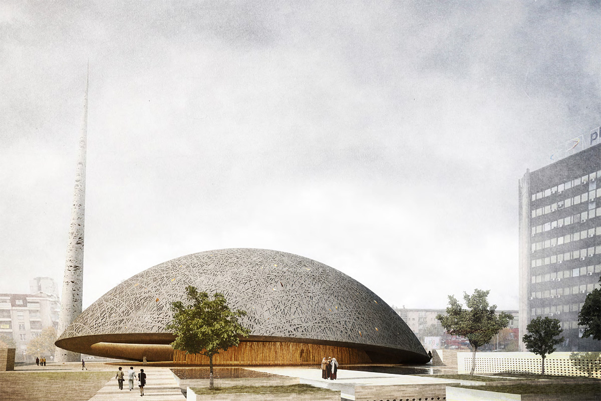 View of the Prishtina Central Mosque entry by OODA + AND-RÉ (Image: OODA + AND-RÉ)
