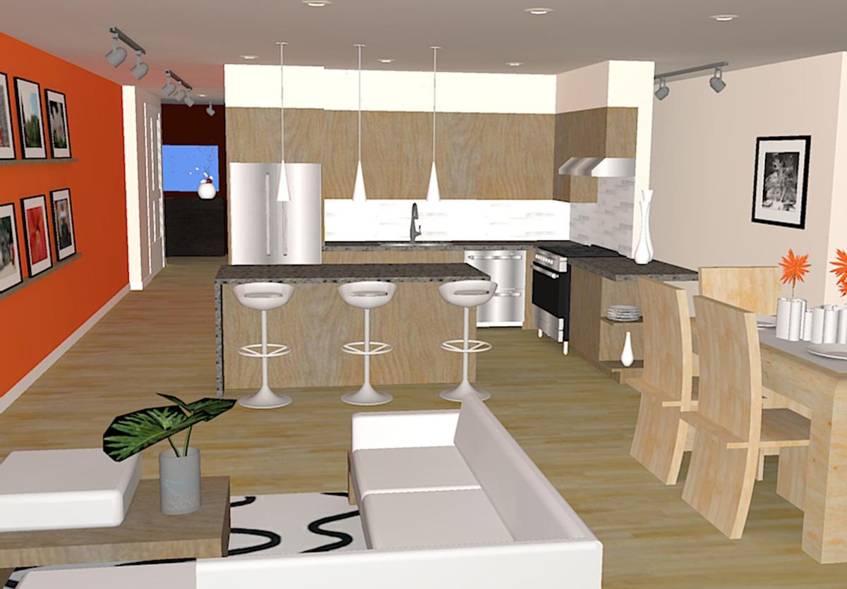 rendering of custom condo interior