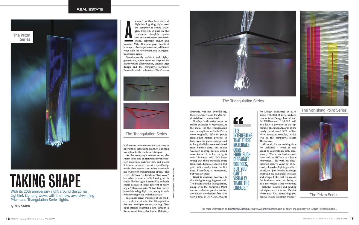 Inspire magazine article w/ Triangulation Series lighting