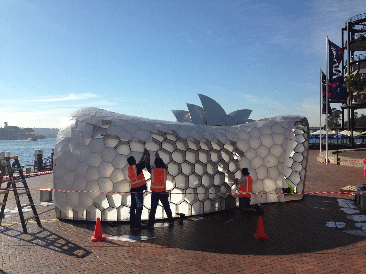 Cellular Tessellation being constructed for the Vivid Light festival in Sydney, Australia. Photo by Chris Knapp.