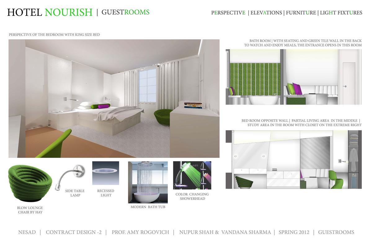 Perspective, Elevation, Furniture- Guestrooms