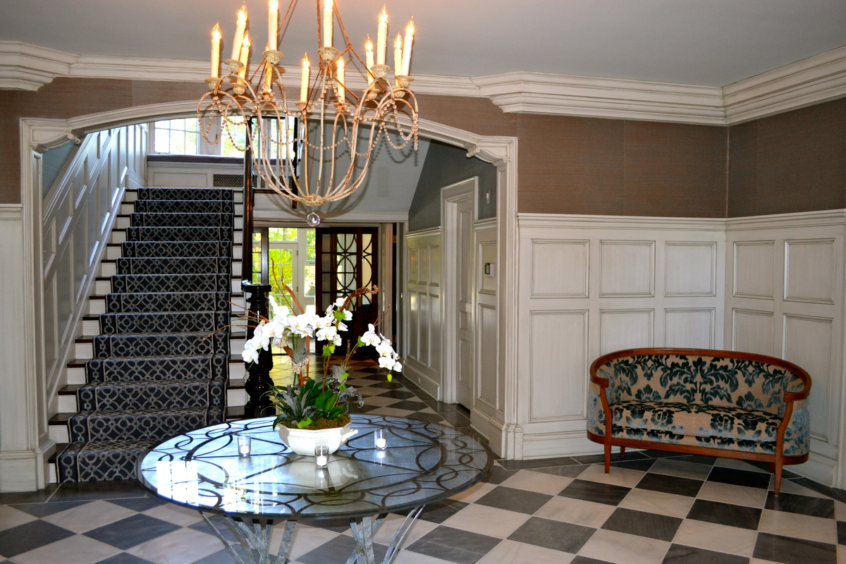 Entry, Custom Silver Leaf Table and Marble Flooring