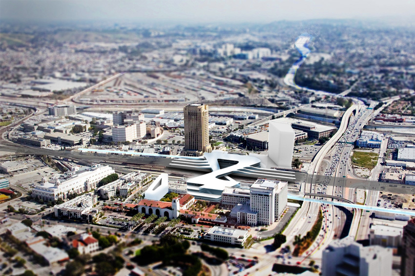 aerial rendering of high speed rail station addition in site
