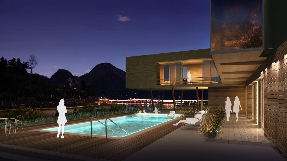 Hillside Villa Night View