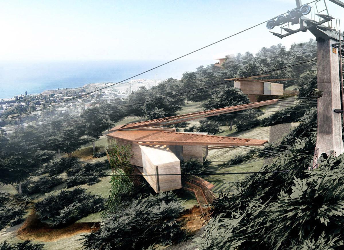 Hillside perspective of landslide mitigation housing units.