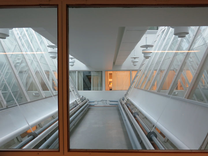 National Pensions Building skylights from interior