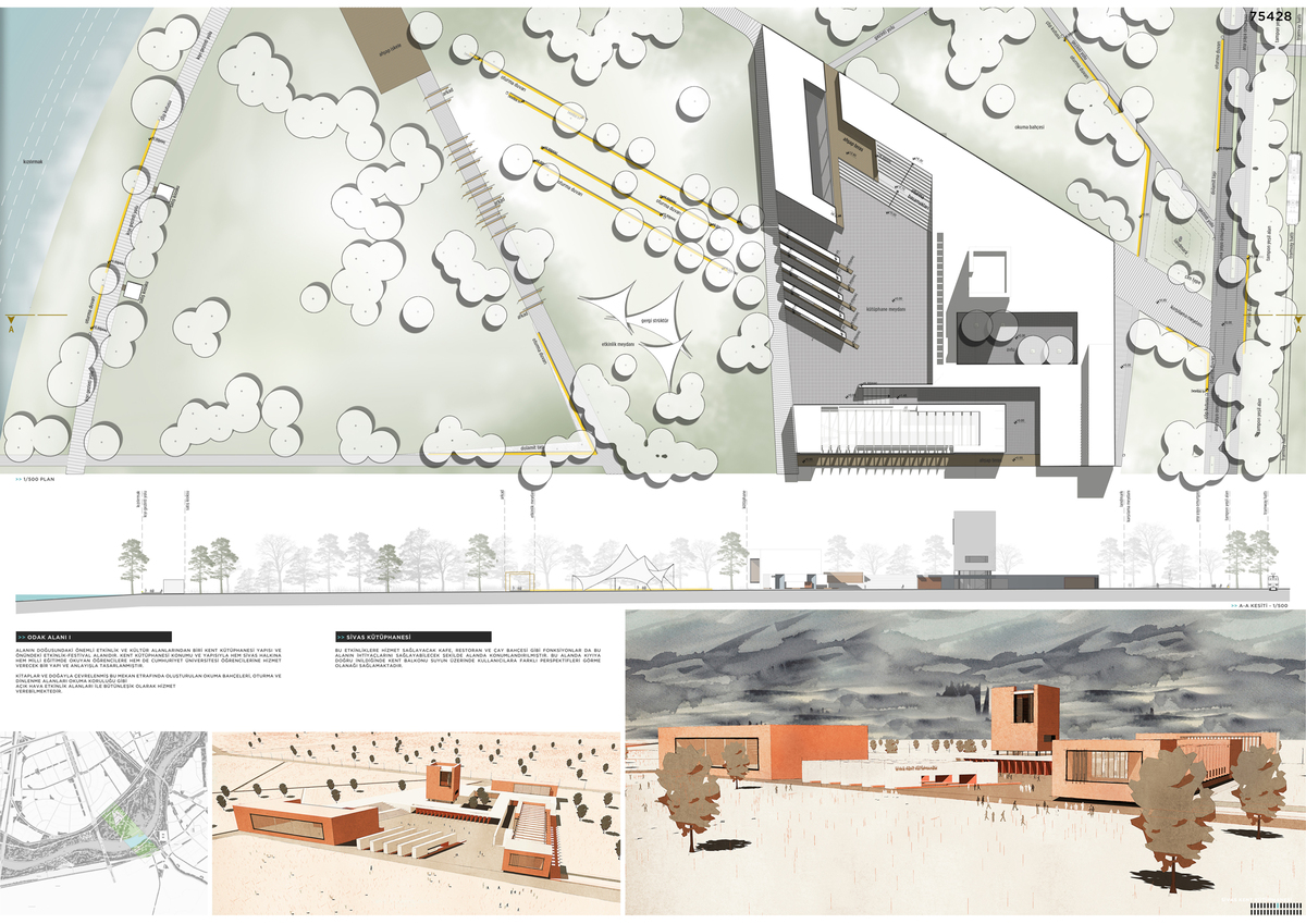 035 – FOCAL POINT 1 | CITY LIBRARY | 1/500 PLAN - SECTION - Image Courtesy of ONZ Architects & MDesign