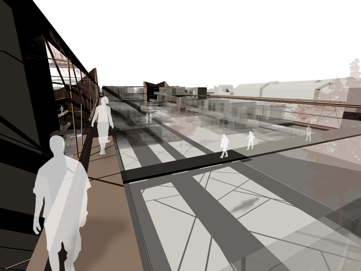 Exterior perspective on structural walkway