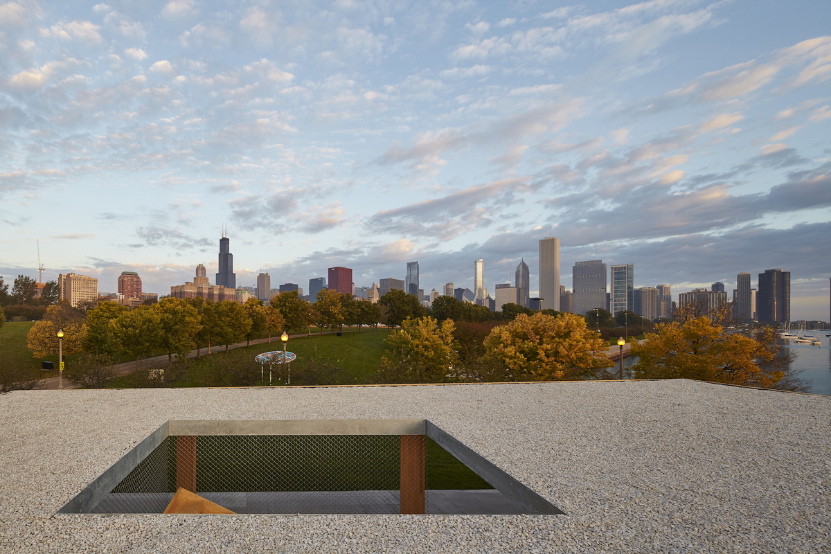 View of Chicago from the roof of Ultramoderne's winning design for the Lakefront Kiosk competition. Photo by Tom Harris.