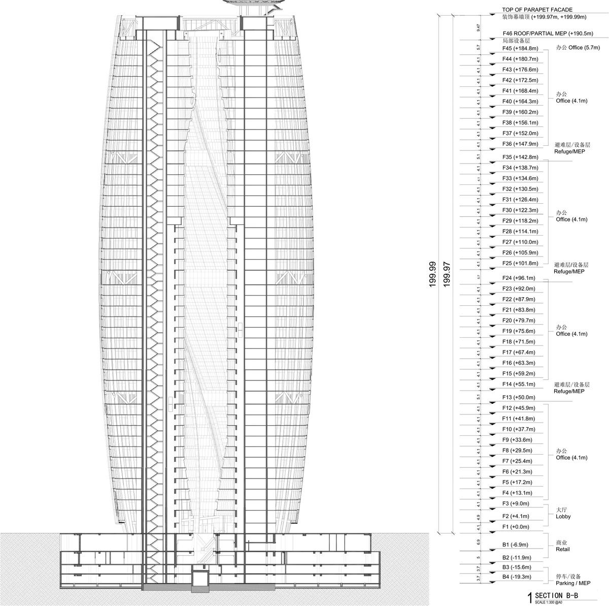 Leeza SOHO, Section AA through Atrium. Image courtesy of Zaha Hadid Architects.