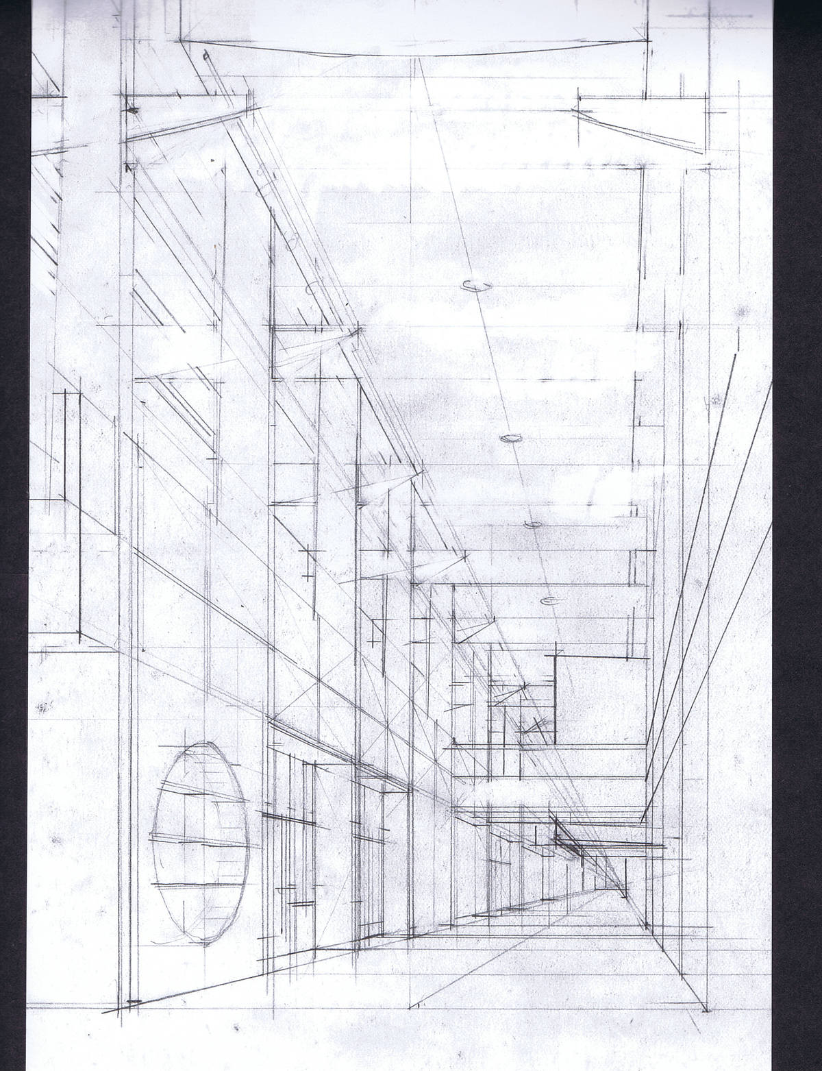 Perspective sketch of an interior