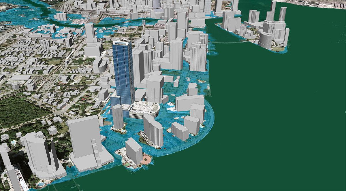 Inundation scenario in 2030 when sea level has risen one meter. Image: ©2007, Google, Inc and 2030, Inc, via Architecture2030.org