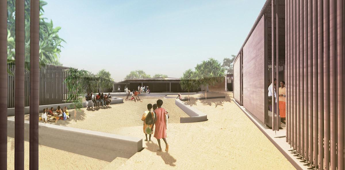 Global Holcim Awards 2012 Gold: Secondary school with passive ventilation system, Gando, Burkina Faso: The project improves the children of Gando's future through education. (Image © Holcim Foundation)