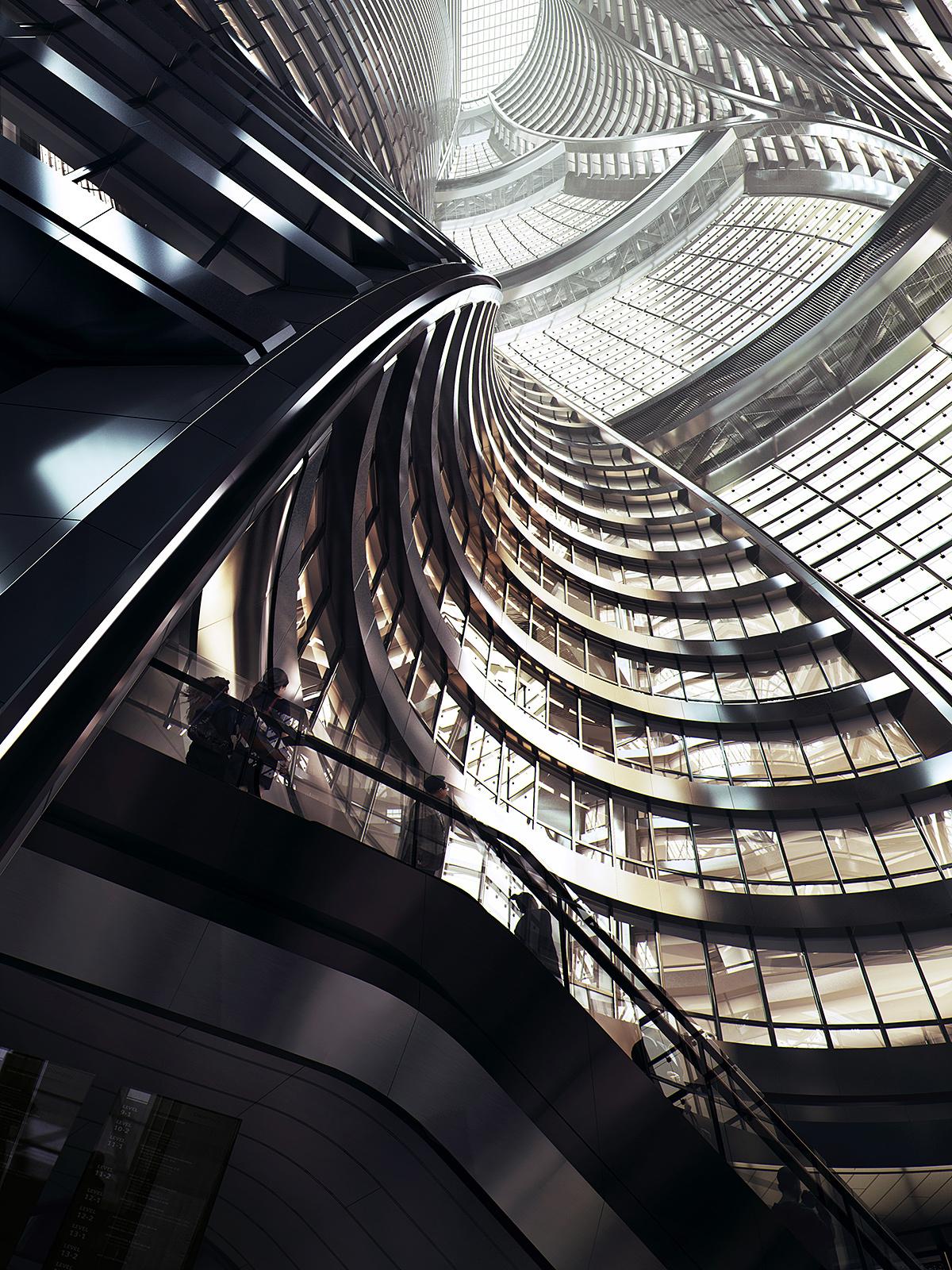 Leeza SOHO, Atrium rendering by MIR. Image courtesy of Zaha Hadid Architects.