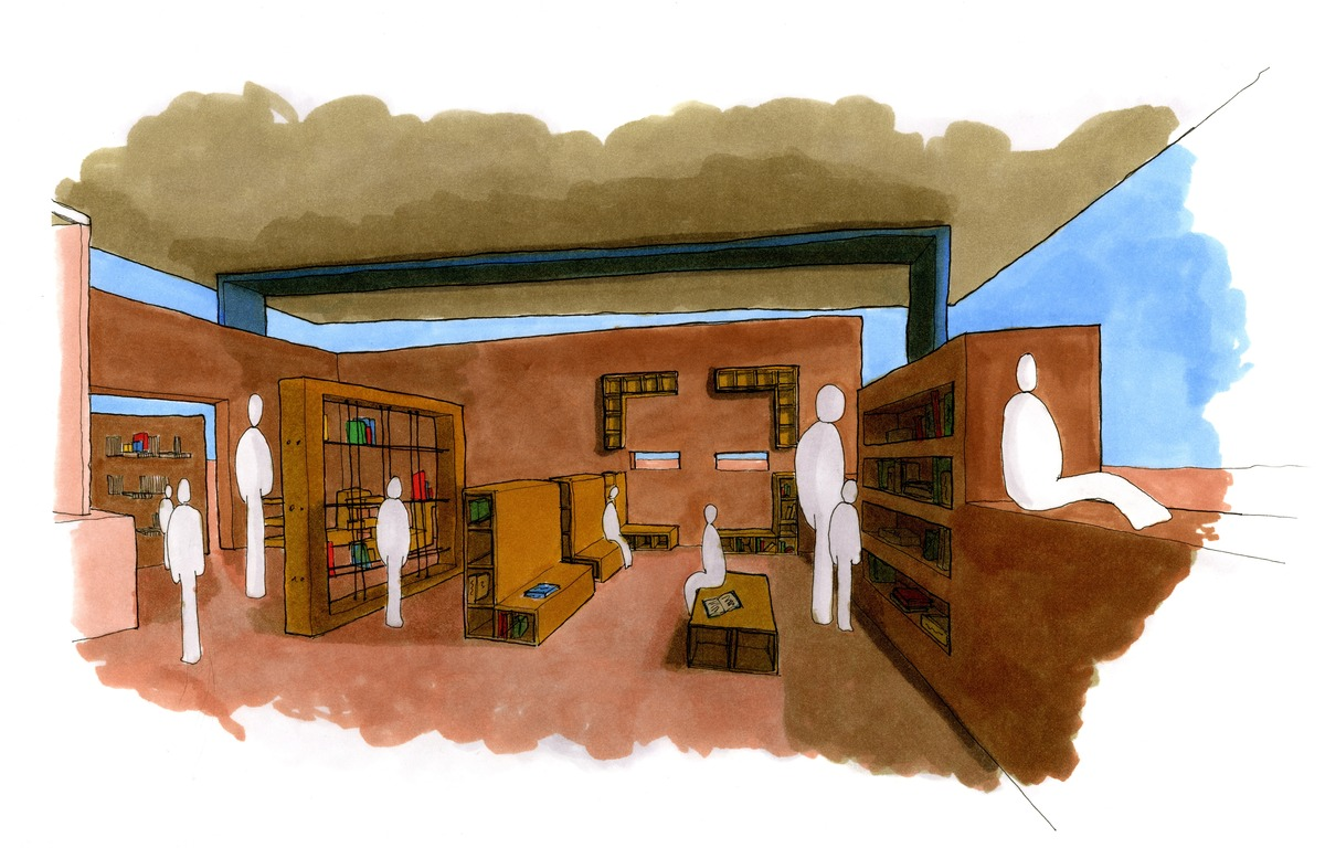 Perspective of my library design for the school