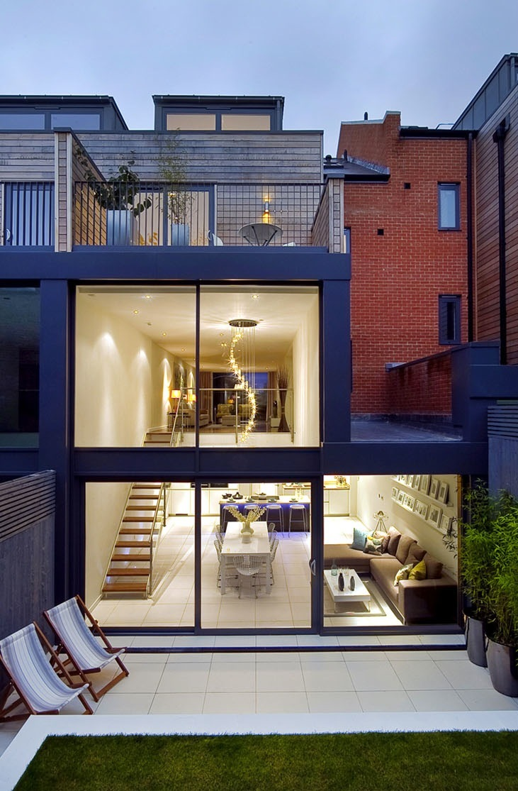 Rear external night, Crouch End London.
