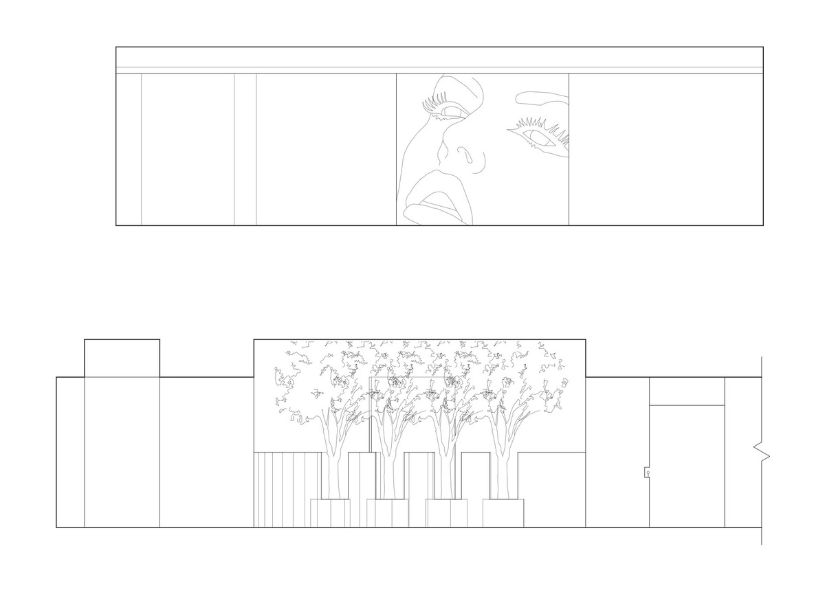 Elevation of Lounge wall above, elevation of club entrance below