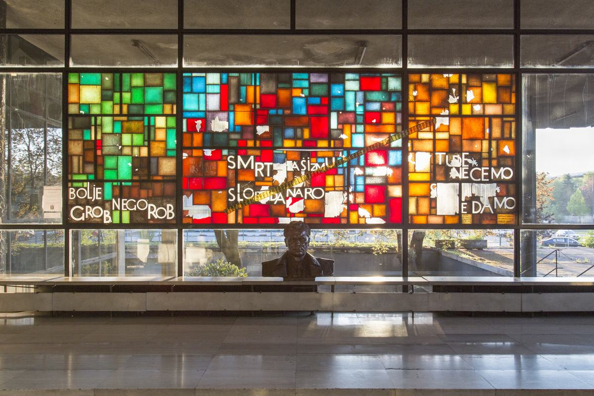 A window display at the entrance of the Historical Museum, 2016. © Daniel Schwartz/U-TT at ETH