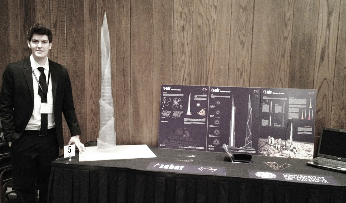 AZAHAR Architecture team member Alejandro Darás presents the winning entry