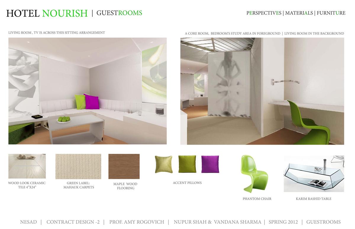 Perspective, Furniture, Materials - Guestrooms