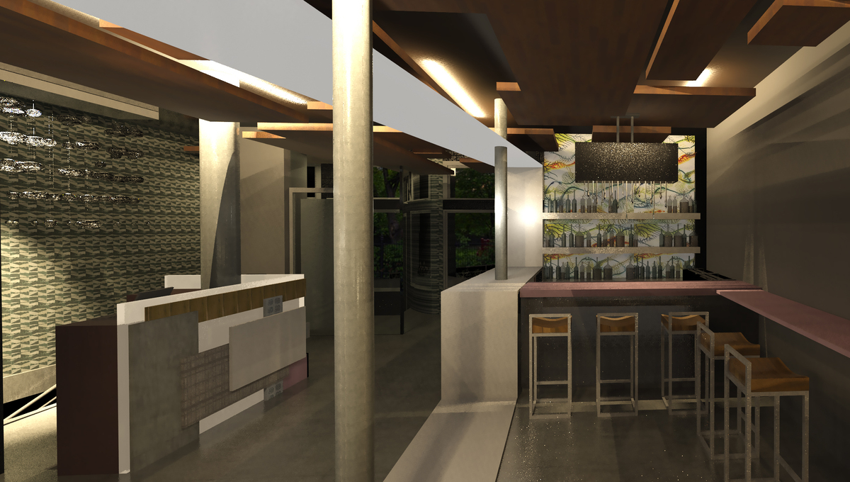 View of the entrance, the ground floor bar, and the hostess desk.