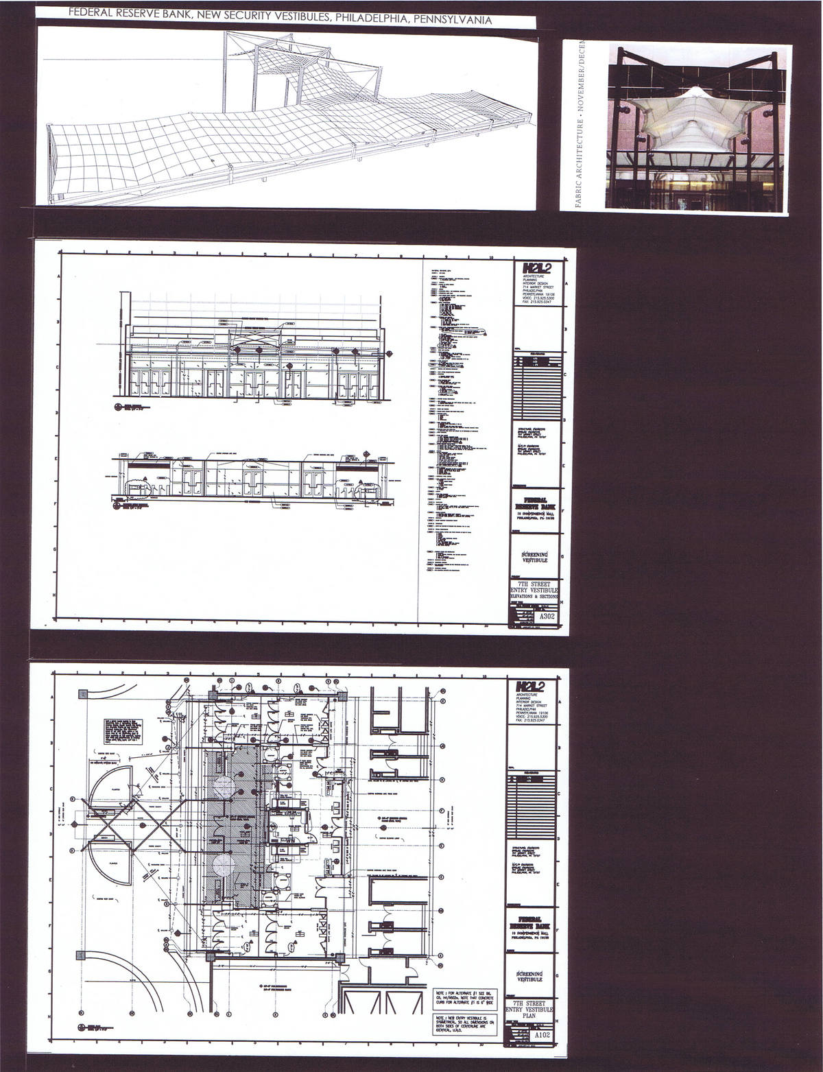 7th Street Entry Vestibule, Canopy Study, Elevation, Section, Floor Plan
