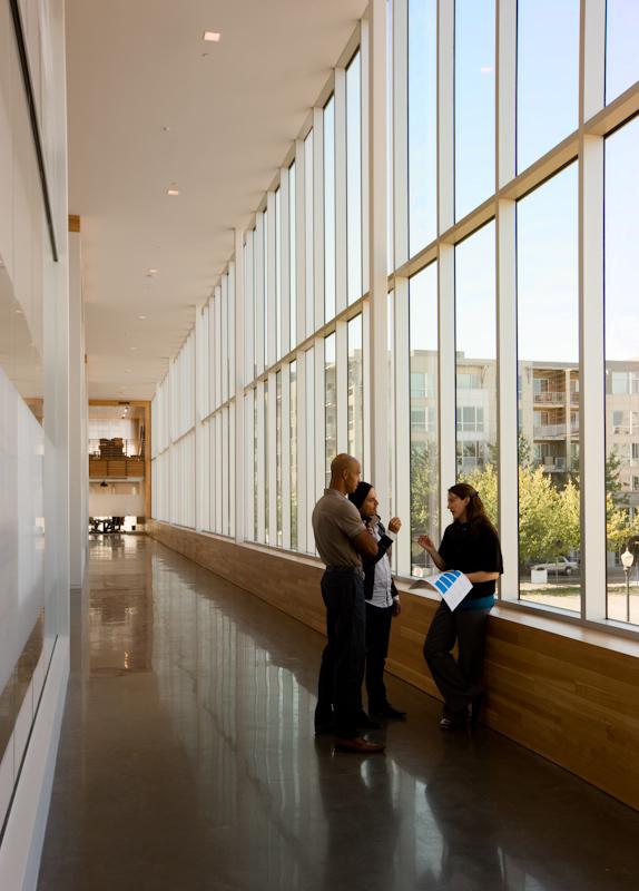 Curtain wall provides views and an abundance of light.