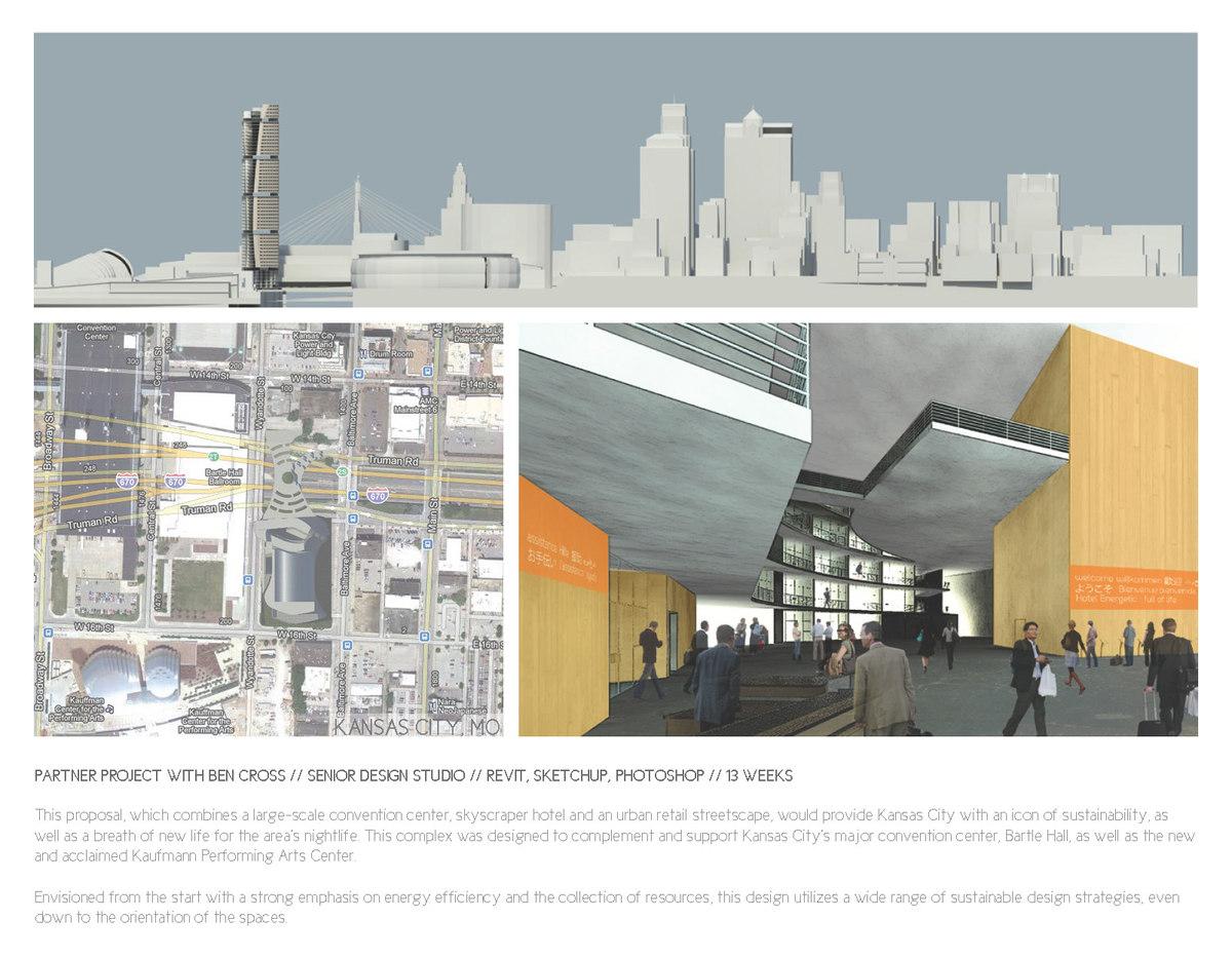 Top: Skyline diagram. Bottom Left: Site plan. Bottom Right: Lobby render.