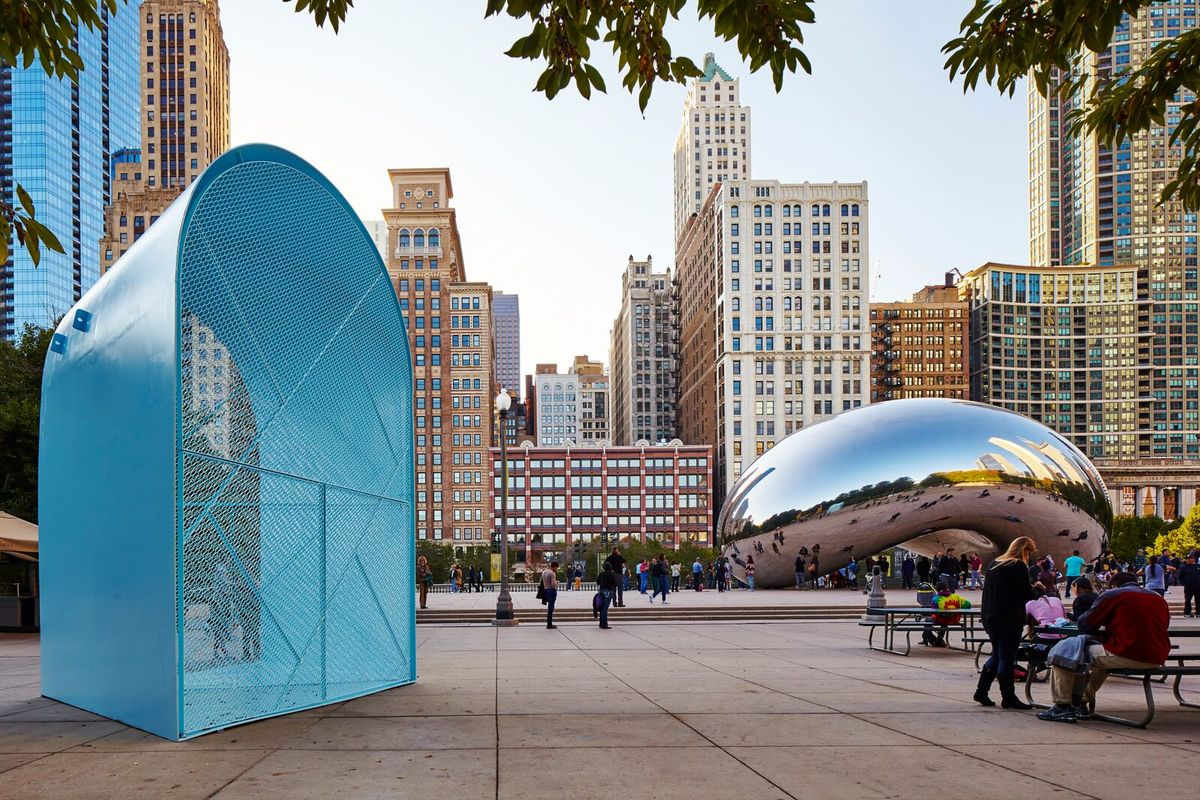 Kiosk by University of Illinois at Chicago, Paul Preissner (of Paul Preissner Architects) and Paul Andersen (of Indie Architecture). Photo by Tom Harris. Image courtesy of the Chicago Architecture Biennial.